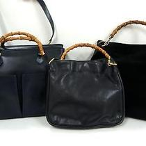3247 Gucci Bamboo Top Handle Leather 3 Set Lot Black Navy Shoulder Hand Bag Junk Photo