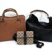 3248 Gucci Bamboo Top Handle Leather Canvas 3 Set Lot Shoulder Hand Bag Junk Photo
