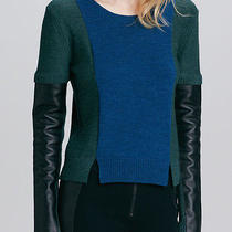 325 Aiko Sabine Leather Sleeve Sweater in Heather/indigo Blue Green Black Sz L Photo