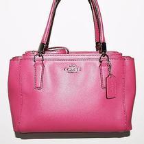 325 Coach Ruby Pink Crossgrain Leather Mini Christie Satchel Tote F34797 Htf Photo