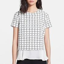 325 Elizabeth and James 'Tierney' Grid Print Top With Ruffled Hem (Xs) Photo