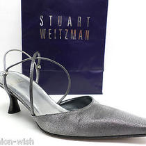 325 Stuart Weitzman Silver Evening Heels Size 8 C or Wide Pumps Shoes Photo