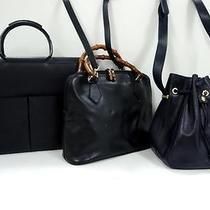 3252 Gucci Bamboo Top Handle Leather 3 Set Lot Black Navy Shoulder Handbag Junk Photo