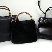 3254 Gucci Bamboo Top Handle Suede Leather 3 Set Lot Black Shoulder Handbag Junk Photo