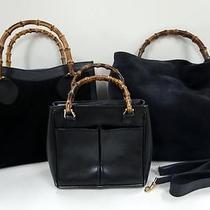 3255 Gucci Bamboo Top Handle Suede Leather 3 Set Lot Black Shoulder Handbag Junk Photo