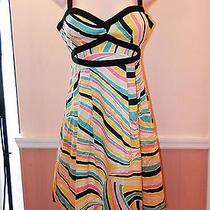 328 Nanette Lepore Bright Color Striped Keyhole Back Dress W/ribbon Accent Sz 2 Photo