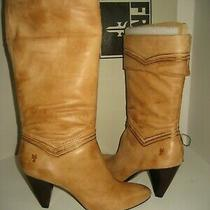 328 New Frye Womens Us 10 Simone Cuff Mid-Calf Leather Natural Tan Boots Shoes Photo