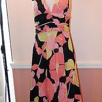 328 Trina Turk Bright Color Floral Print Stretch Silk Halter Dress Size 2 Lk Photo