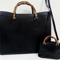3292 Gucci Bamboo Top Handle Leather 2set Lot Black Hand Bag Junk Photo