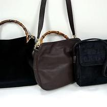 3294 Gucci Bamboo Top Handle Leather 3 Set Lot Black Brown Shoulder Handbag Junk Photo