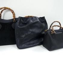 3297 Gucci Bamboo Top Handle Suede Leather 3 Black Set Lot Shoulder Handbag Junk Photo