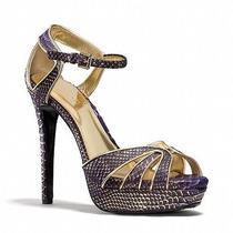 330 Ln Euc Coach Daylan Purple Gold Snake Skin Print Strappy Heels Sandals 9 Photo
