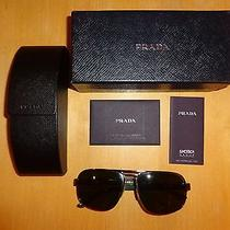 330 Prada Spr51l Aviator Sunglasses Gun Metal / Green Made in Italy W/auth Cert Photo