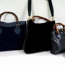 3329 Gucci Bamboo Top Handle Suede Leather 3 Set Lot Navy Shoulder Hand Bag Junk Photo