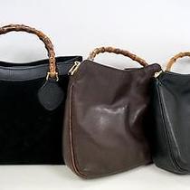3331 Gucci Bamboo Top Handle Leather 3 Set Lot Black Brown Shoulder Handbag Junk Photo
