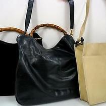 3332 Gucci Bamboo Top Handle Leather 3 Set Lot Black Beige Shoulder Handbag Junk Photo