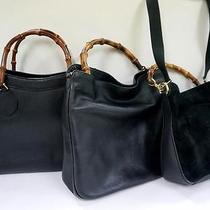 3334 Gucci Bamboo Top Handle Suede Leather 3 Set Lot Black Shoulder Handbag Junk Photo