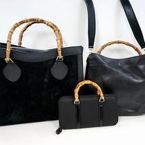 3336 Gucci Bamboo Top Handle Suede Leather 3 Set Lot Black Shoulder Handbag Junk Photo