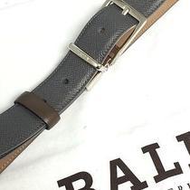 335  Tax Bally Gray Brown Pebbled Belt Current Style Sz35-36 Custom Strap Photo