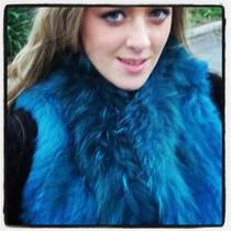 339.00 Nwt Size 8 10 12 Aqua Green Teal Blue 100% Real Rabbit Fur Vest Jacket  Photo