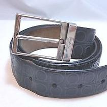 340 Salvatore Ferragamo Men's Gancini Print Adjustable Black Belt Size 38 Photo