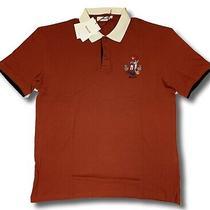 350 Bally Red Short Sleeve Cotton Polo Shirt Size Xxxl Made in Italy Photo