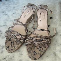 350 Elie Tahari Helen Snakeskin Nude Beige Wedge Sandals (Eu40/9m) Sold Out Photo