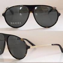 350 Gucci Gg 1649/s I9y85 Havana Tortoise Aviator Unisex Sunglasses Authentic Photo