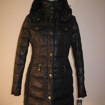 350 Vince Camuto Black Down Puffer Removable Hood Jacket Coat Size L Photo