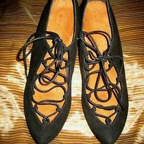 360 Chie Mihara Suede Shoes in Black Front Lace Up 39.5 9 Spain Worn 1x Chic Photo