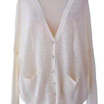 360 Sweater Boxy & Oversized Linen Cardigan Sweater Ivory New  Photo