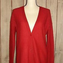 360 Sweater Women's 100% Cashmere Red Button Front Lightweight Sweater Size Xs Photo