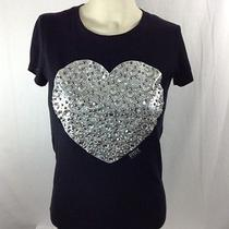360 Victoria's Secret Pink Rhinestone Heart T- Shirt Bling Small Ecu Photo