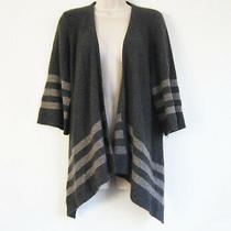 360cashmere 100% Cashmere 3/4 Sleeve Open Cardigan Sweater in Dark Gray Size S Photo