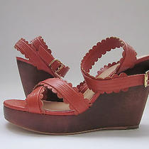 365 Nib See by Chloe Sb18097 Wedge Sandals Rust Women's 10 Photo