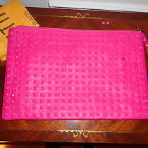 3695 Valentino Garavani Rare Large Leather Rockstud Clutch Wristlet Pink Photo