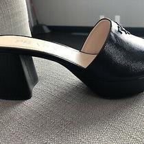 38   38.5 Eu Prada Logo  Heel Platform Mule Slide Sandal Black Saffiano Leather Photo