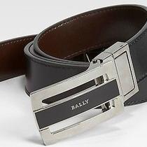 380 Bally Men's Reversible Plaque Buckle Black Reversible Leather Belt Size 38 Photo