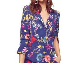 388 Parker Vibrant Floral Blazer Xsmall 0 2 One Button Closure Welt Pockets Nwt Photo