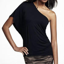 39.90 Express One Sleeve Shoulder Rouched Top Black Small New Photo