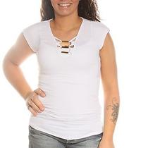 39 New 0567 Guess Solid White Casual Top S Bab Photo