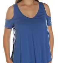 39 New 1077 Guess Solid Blue Casual Top L Bab Photo
