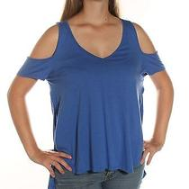 39 New Guess Solid Blue Casual  Top M Bab Photo