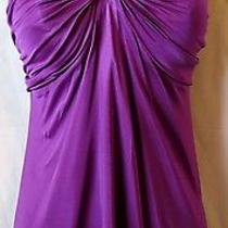 391 Nwot New Yigal Azrouel 2 3 Xs S Dress Top Open Back Purple Black Twist Photo
