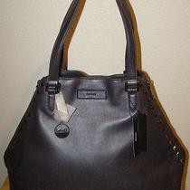 395 Dkny Convertible Black Lamb Metallic Leather Zip Gansevoort Studded Tote Photo