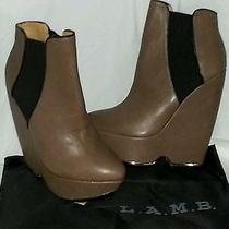 395 Lamb Diva Leather Booties Taupe/blac Wedges Nwb Photo