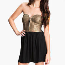 395 Parker Metallic  Leather Corset Strapless Dress Sz L Large Photo