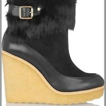 395 Tory Burch 10m 10 10n Black Rabbit Fur Andrea Suede Ankle Boot Wedge Shoe   Photo