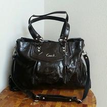 398 Authentic Coach Ashley Mahogany Patent Leather Carryall Shoulder Handbag Photo