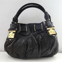 398 Authentic Juicy Couture Black Leather Freestyle Lock Satchel Hobo Tote Bag Photo